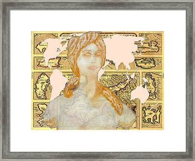 Word Map Cyprus And Aphrodite Framed Print by Augusta Stylianou