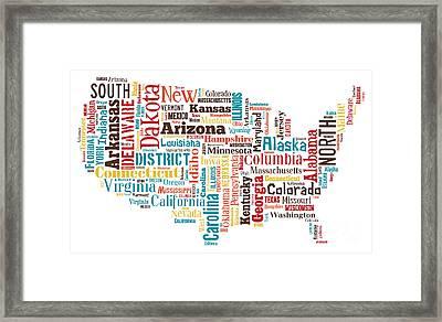 Wordcloud Of America Framed Print