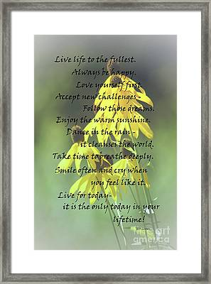 Words For My Teen Framed Print by Cathy  Beharriell