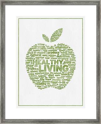 Words Healthy Living - Green Ink Framed Print