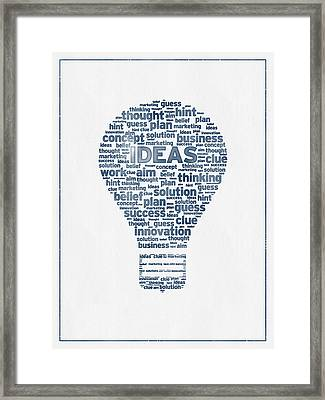 Words Ideas  -  Blue Ink Framed Print