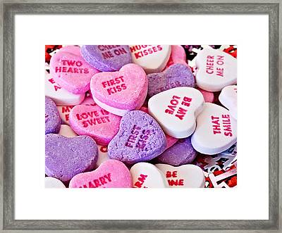 Framed Print featuring the photograph Valentine Candy Hearts by Vizual Studio