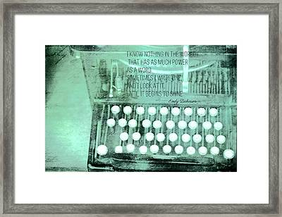 Words That Shine Framed Print by Bonnie Bruno