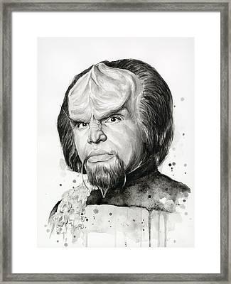 Worf Portrait Watercolor Star Trek Art Framed Print by Olga Shvartsur
