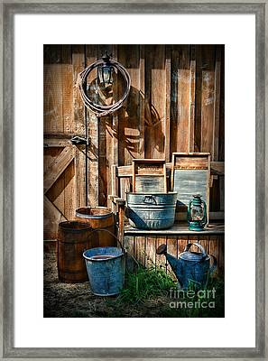 Work At The Farm Framed Print by Paul Ward