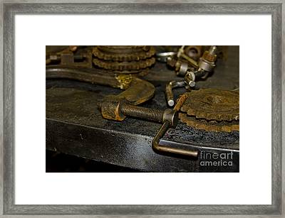 Work Bench Rusty Tools And Motorcycle Sprockets  Framed Print by Wilma  Birdwell