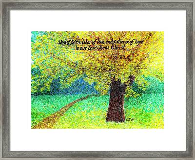 Work Of Faith Framed Print by Catherine Saldana