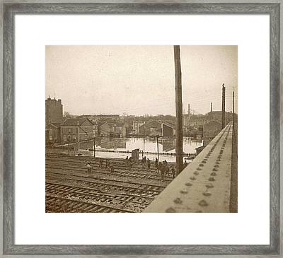 Work On Railway Tracks During The Flooding Of Paris Framed Print