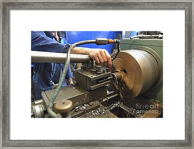 Worker At Factory Checking A Milling Cutter Framed Print