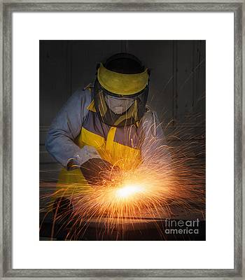 Worker Hard Work Electric Wheel Grinding On Steel Structure  Framed Print by Anek Suwannaphoom