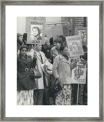 Workers At The Grunwick Laboratories Offered Council Houses Framed Print by Retro Images Archive