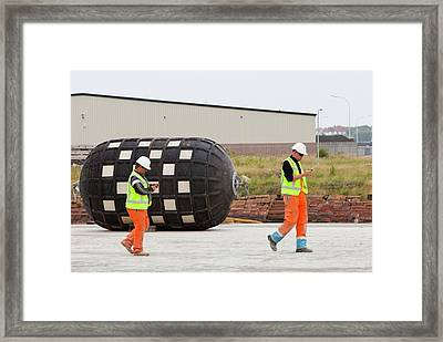 Workers Checking Their Mobile Phones Framed Print