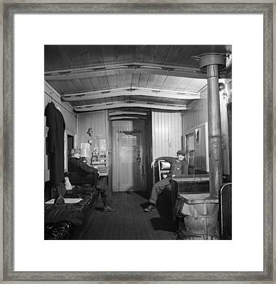Workers In The Caboose 1942 Framed Print