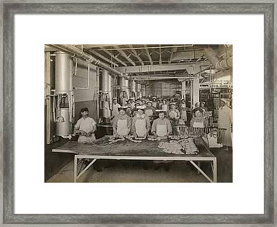 Workers Making Sausage, Omaha Framed Print by Stocktrek Images