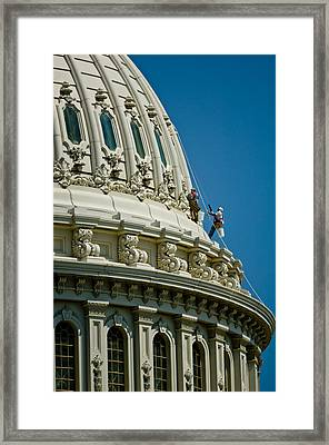 Workers On A Government Building Dome Framed Print by Panoramic Images