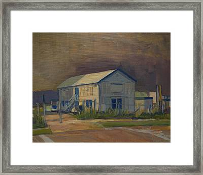 Worker's Shed Just Before The Rain Framed Print