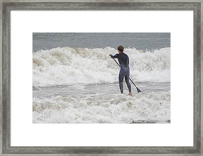 Workin A Wave Framed Print by Susan  McMenamin