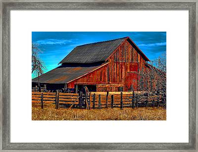 Working Barn Of Yuba County Framed Print