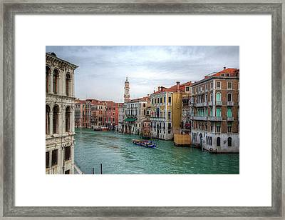 Working Boats Along The Grand Canal Framed Print