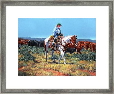 Working Cowgirl Framed Print by Randy Follis