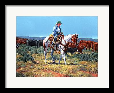 Moving Cattle Framed Prints