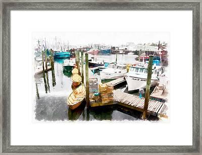 Working Harbor In Gloucester Ma Framed Print