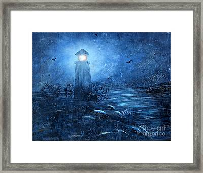 Working Night Shift In The Rain Framed Print by Barbara Griffin