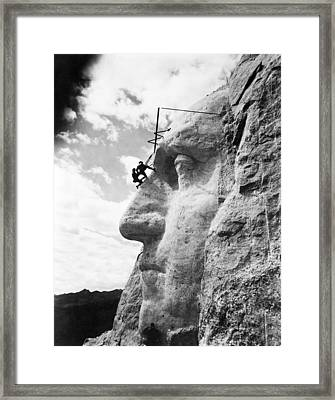 Working On Mt. Rushmore Framed Print by Underwood Archives
