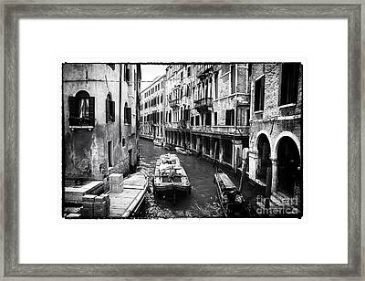 Working On The Canal Framed Print by John Rizzuto