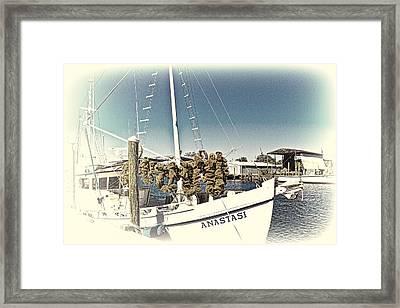Working Sponge Boat Framed Print