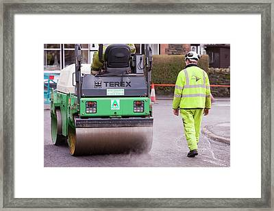 Workmen Replacing Road Surface Framed Print by Ashley Cooper