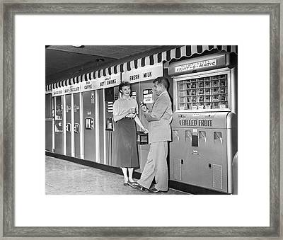 Workplace Snack Break Framed Print by Underwood Archives