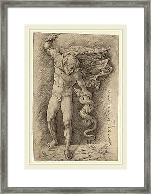 Workshop Of Andrea Mantegna, Faun Battling A Snake Framed Print by Litz Collection