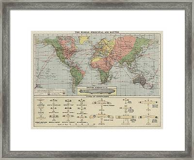 World Air Routes Map 1920 Framed Print
