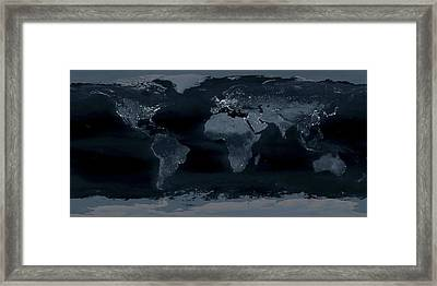 World At Night Framed Print by Science Photo Library