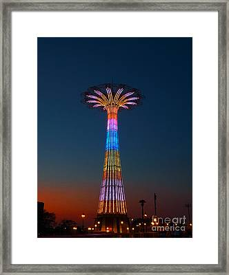 World Famous Parachute Jump In Coney Island Beach Framed Print