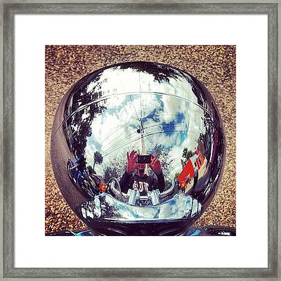 World In A Headlamp Framed Print