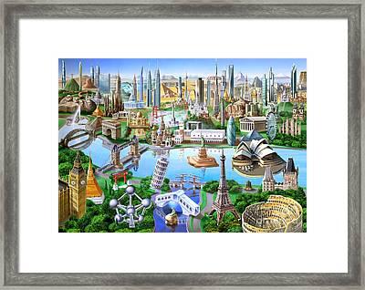 World Landmarks Framed Print by Adrian Chesterman