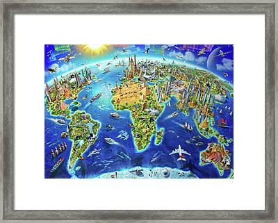 World Landmarks Globe Framed Print