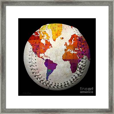 World Map - Rainbow Bliss Baseball Square Framed Print