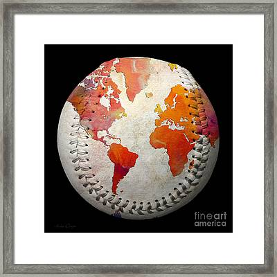 World Map - Rainbow Passion Baseball Square Framed Print
