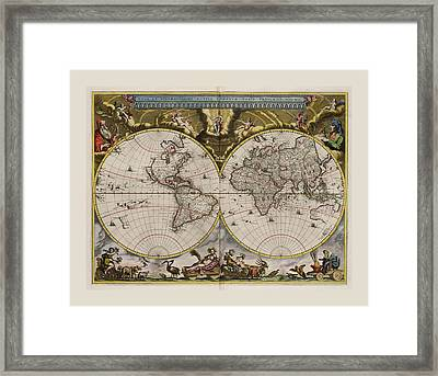 World Map 1664 Ad With Small Matching Border Framed Print by L Brown
