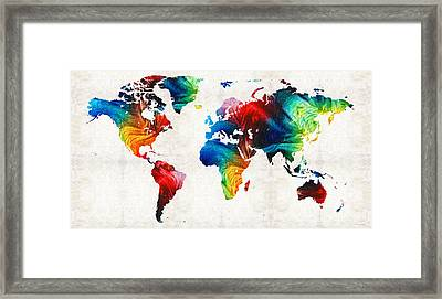 World Map 19 - Colorful Art By Sharon Cummings Framed Print by Sharon Cummings