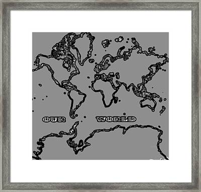 World Map Abstract Black And Grey Framed Print by Eti Reid