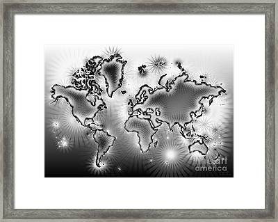 World Map Amuza In Black And White Framed Print by Eleven Corners