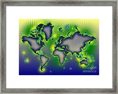 World Map Amuza In Blue Yellow And Green Framed Print by Eleven Corners