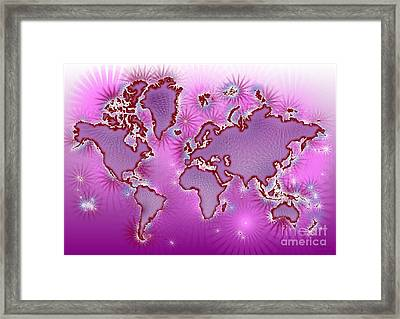 World Map Amuza In Pink And Purple Framed Print by Eleven Corners
