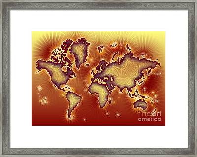 World Map Amuza In Red And Yellow Framed Print by Eleven Corners