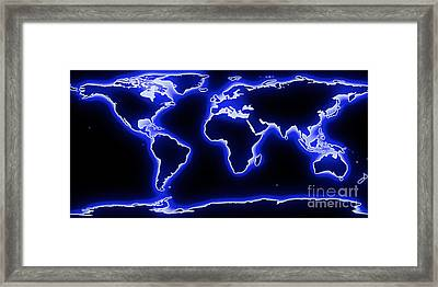 World Map Blue Glow Framed Print by Pixel Chimp