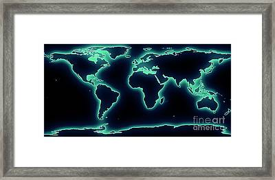 World Map Blue/green Glow Framed Print by Pixel Chimp
